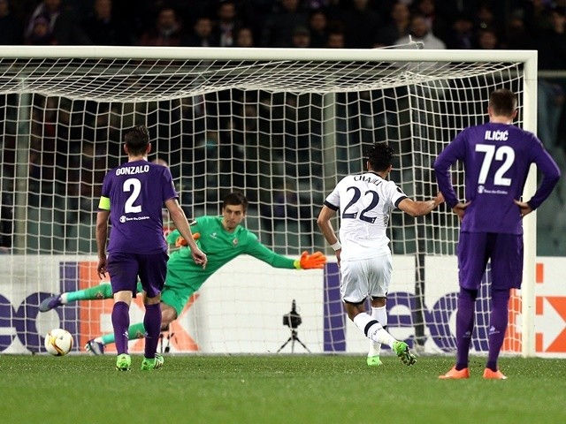 Nacer Chadli of Tottenham Hotspur scores the opening goal against Fiorentina on February 18, 2016