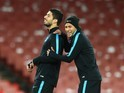 Luis Suarez and Neymar joke in training ahead of the Champions League clash between Arsenal and Barcelona on February 22, 2016