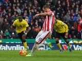 Marko Arnautovic of Stoke City converts a penalty kick against Aston Villa at Britannia Stadium on February 27, 2016