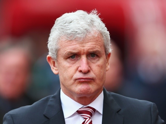 Mark Hughes looks on prior to the Premier League match between Stoke City and Aston Villa at Britannia Stadium on February 27, 2016