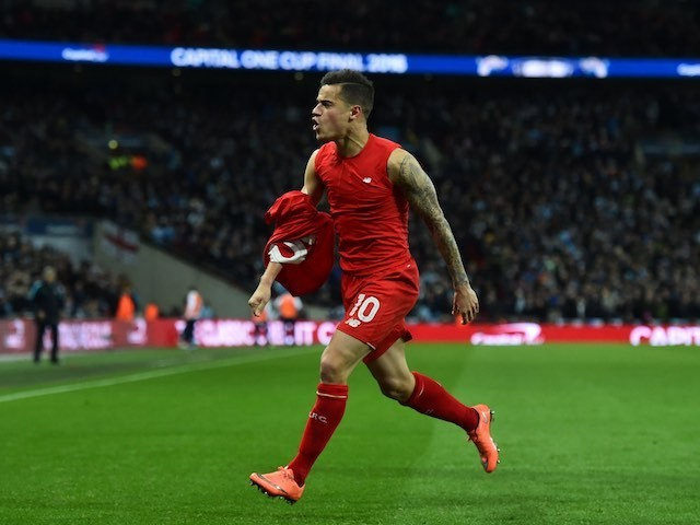 Philippe Coutinho strips to celebrate equalising during the League Cup final between Liverpool and Manchester City on February 28, 2016