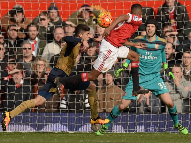 Marcus Rashford heads in his second during the Premier League game between Manchester United and Arsenal on February 28, 2016