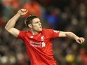 James Milner celebrates scoring the second during the Premier League game between Liverpool and Manchester City on March 2, 2016
