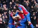 Joe Ledley celebrates with teammates after scoring during the Premier League game between Crystal Palace and Liverpool on March 6, 2016