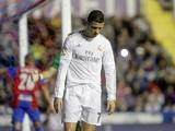 Real Madrid's Cristiano Ronaldo looks down after missing a goal against Levante on March 2, 2016