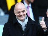 New FIFA president Gianni Infantino prior to the Premier League match between Swansea City and Norwich City at Liberty Stadium on March 5, 2016