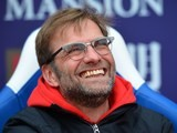 Jurgen Klopp beams during the Premier League game between Crystal Palace and Liverpool on March 6, 2016
