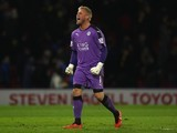 Kasper Schmeichel celebrates at the end of the Premier League game between Watford and Leicester City on March 5, 2016