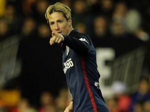 Fernando Torres points and scores during the La Liga game between Valencia and Atletico Madrid on March 6, 2016