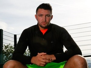 Hughie Fury during the Tyson Fury media session at the Eddie Davies Football Academy on June 17, 2014