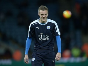 Jamie Vardy flashes a winner's smile ahead of the Premier League game between Leicester City and West Bromwich Albion on March 1, 2016