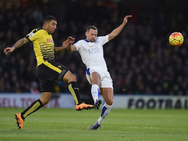 Danny Drinkwater and Troy Deeney in action during the Premier League game between Watford and Leicester City on March 5, 2016