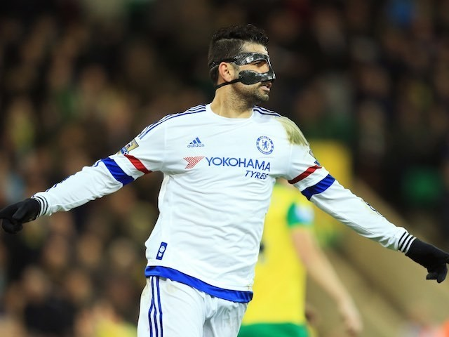 S&M fan Diego Costa celebrates during the Premier League game between Norwich City and Chelsea on March 1, 2016