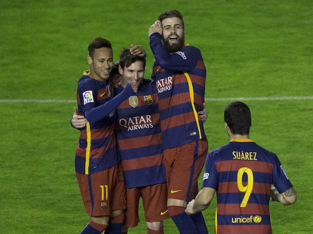 Lionel Messi celebrates with Neymar, Luis Suarez and Gerard 'ereccion' Pique during the La Liga game between Rayo Vallecano and Barcelona on March 3, 2016
