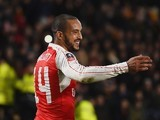 Theo Walcott celebrates scoring during the FA Cup game between Hull City and Arsenal on March 8, 2016