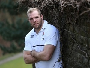 James Haskell leans against a dirty wall during an England photocall on March 7, 2016