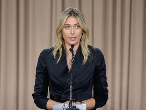 Maria Sharapova at a press conference on March 7, 2016