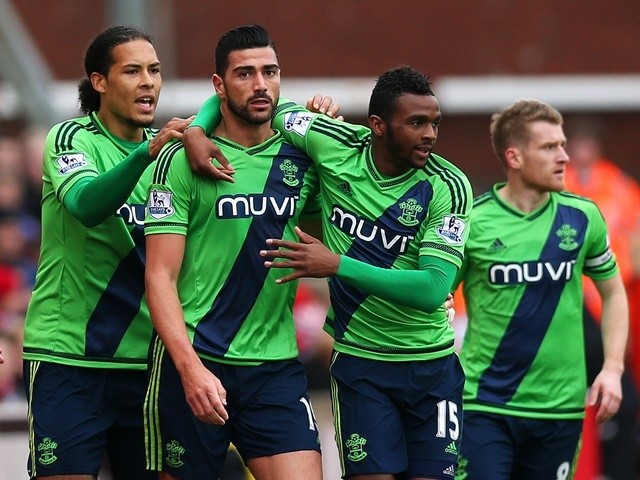 Graziano Pelle celebrates scoring in the match between Stoke City and Southampton on March 12, 2016