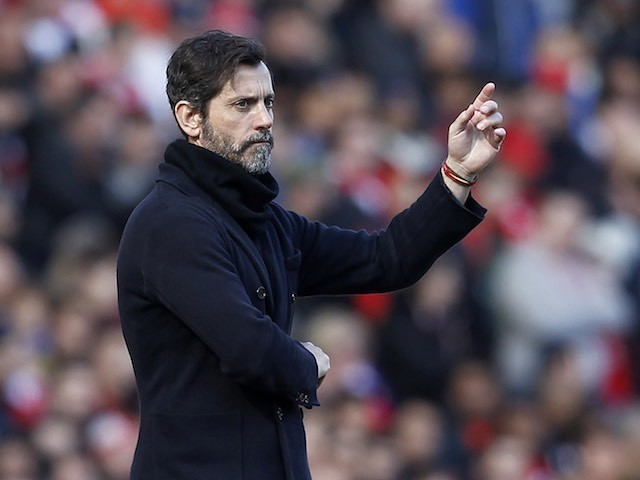 Quique Flores gives instructions during the FA Cup game between Arsenal and Watford on March 13, 2016