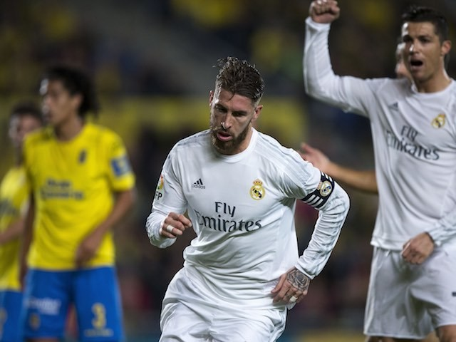 Sergio Ramos celebrates scoring during the La Liga game between Las Palmas and Real Madrid on March 13, 2016