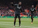 Daniel Sturridge dances like a dickish robot during the Premier League game between Southampton and Liverpool on March 20, 2016