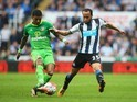 Patrick van Aanholt and Andros Townsend in action during the Premier League game between Newcastle United and Sunderland on March 20, 2016