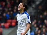 Shinji Okazaki reacts to a missed chance during the Premier League game between Crystal Palace and Leicester City on March 19, 2016