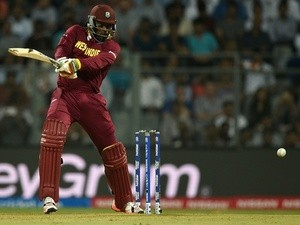 Chris Gayle plays a shot during the World T20 cricket tournament match between England and West Indies on March 16, 2016