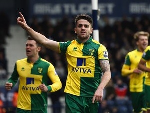 Robbie Brady celebrates scoring during the Premier League match between West Bromwich Albion and Norwich City on March 19, 2016