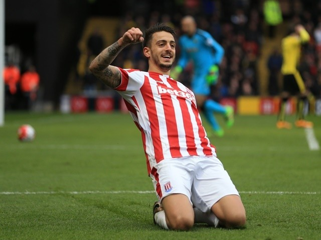 Joselu celebrates scoring during the Premier League match between Watford and Stoke City on March 19, 2016