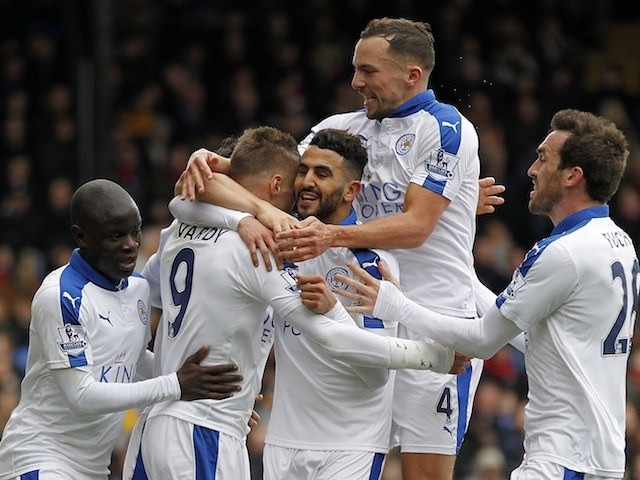 Riyad Mahrez celebrates scoring with teammates during the Premier League game between Crystal Palace and Leicester City on March 19, 2016