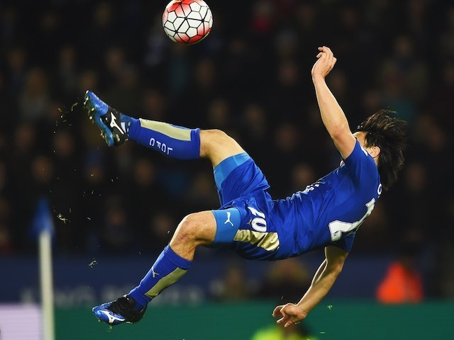 Shinji Okazaki scores a wonder goal during the Premier League game between Leicester City and Newcastle United on March 14, 2016
