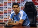 Luis Suarez speaks at a Uruguay presser on March 22, 2016
