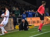 Vicente del Bosque is grounded after a clash with the assistant referee during the friendly between Spain and Italy on March 24, 2016