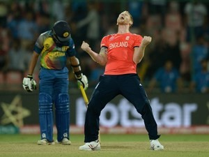 BEN STOKES celebrates winning the World Twenty20 game between England and Sri Lanka on March 26, 2016