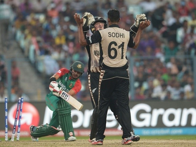 New Zealand's Ish Sodhi celebrates after the dismissal of Bangladesh's Soumya Sarkar on March 26, 2016