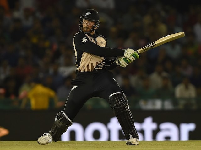 Martin Guptill plays a shot during the World T20 match between New Zealand and Pakistan on March 22, 2016