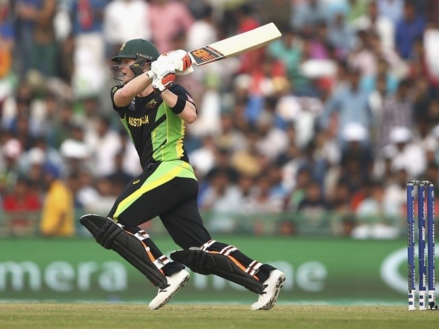 Steven Smith bats for Australia against Pakistan on March 25, 2016