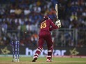 West Indies batsman Chris Gayle is bowled out during the World Twenty20 semi-final against India on March 31, 2016