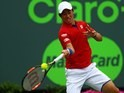 Kei Nishikori in action during the Miami Open final on April 3, 2016