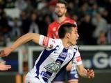 Hirving Lozano of Pachuca celebrates his goal against Veracruz on March 19 2016