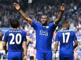 Wes Morgan celebrates scoring the opener during the Premier League match between Leicester City and Southampton on April 3, 2016