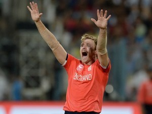 David Willey celebrates the wicket of Lendl Simmons during the World Twenty20 final between England and the West Indies at Eden Gardens on April 3, 2016