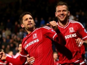Gaston Ramirez of Middlesbrough celebrates after scoring his side's second goal against Queens Park Rangers on April 1, 2016