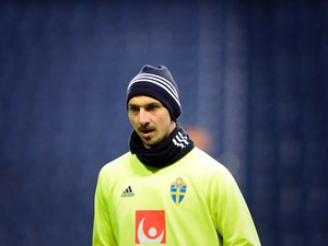 Zlatan Ibrahimovic in action during a Sweden training session on March 28, 2016