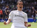Lucas VAZQUEZ rewards the camera after scoring during the La Liga game between Real Madrid and Eibar on April 9, 2016