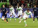 Ricardo Rodriguez scores from the penalty spot during the Champions League quarter-final between Wolfsburg and Real Madrid on April 6, 2016