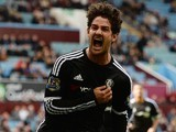 Alexandre Pato celebrates scoring for Chelsea against Aston Villa on April 2, 2016