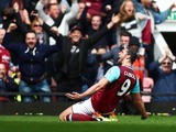 Andy Bloody Carroll scores his side's second during the Premier League game between West Ham United and Arsenal on April 9, 2016