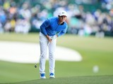 Rory McIlroy tees off during the final round of The Masters on April 10, 2016